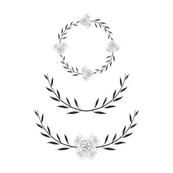 Cadre de cercle floral couronne de mariage simple
