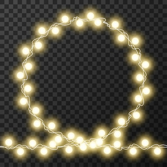 Cadre de cercle de lumières de noël isolé sur fond transparent