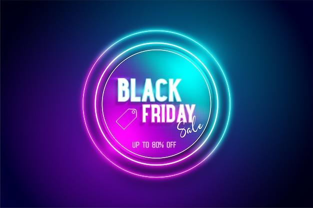 Cadre cercle néon noir vendredi bleu et rose