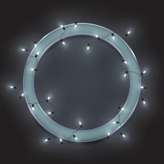 Cadre de cercle de néon rétro argenté, guirlande de lumières brillantes