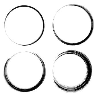 Cadre cercle noir peint. élément de design vectoriel abstrait.
