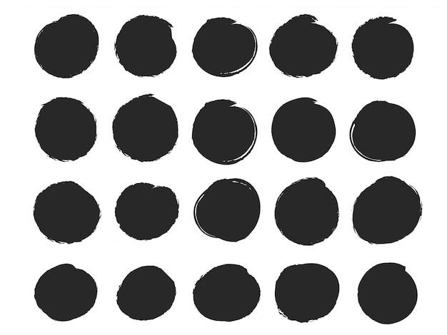 Cadre de cercle noir qui ressemble à une goutte d'encre.
