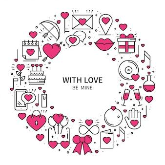 Cadre cercle avec symboles d'amour.