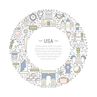 Cadre cercle usa avec des éléments américains