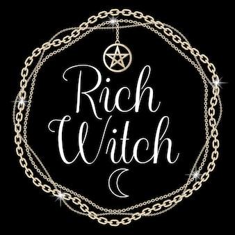 Cadre en chaîne avec pendentif pentagramme, texte sur fond noir. illustration vectorielle