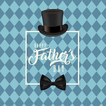 Cadre avec chapeau et noeud papillon de fête des pères