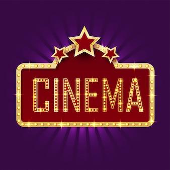 Cadre de chapiteau doré avec du texte cinéma sur fond violet.