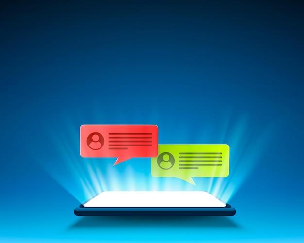 Cadre de chat de message texte de téléphone, écran social mobile.