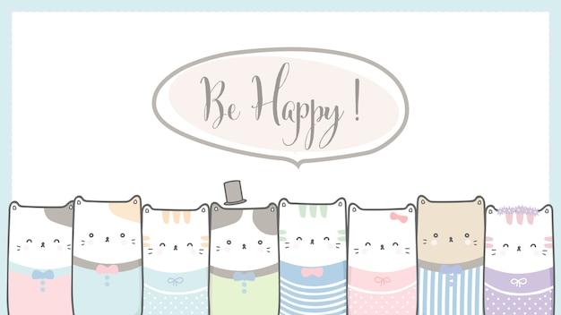 Cadre de chat mignon avec être heureux signe pastel de dessin animé