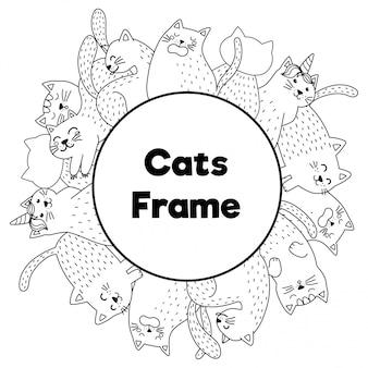 Cadre avec des chats drôles dans un style de coloriage