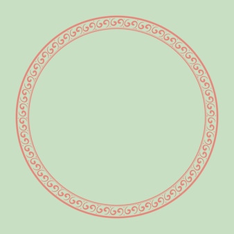 Cadre chinois vecteur motif traditionnel cercle rose