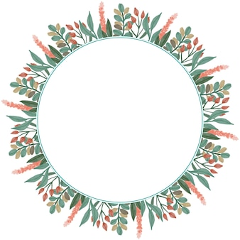 Cadre circulaire avec bordure de fleurs et de feuilles en couleur