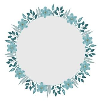 Cadre circulaire avec bordure de fleurs et de feuilles vert pâle pour carte de voeux et de mariage