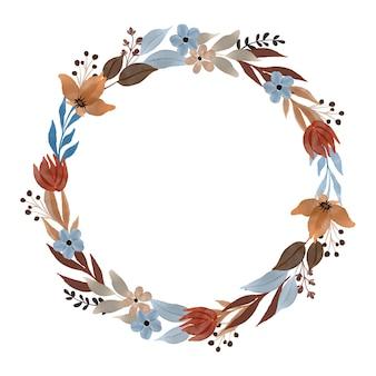 Cadre circulaire avec bordure de plantes sauvages en couleur