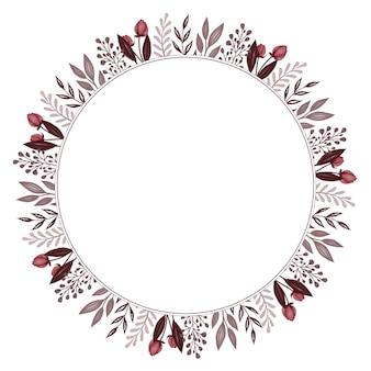 Cadre circulaire avec bourgeon rouge et bordure de feuilles grises pour carte de mariage