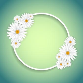 Cadre circulaire décoratif avec des marguerites