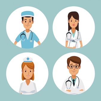 Cadre circulaire demi corps groupe équipe spécialiste médecins à l'intérieur