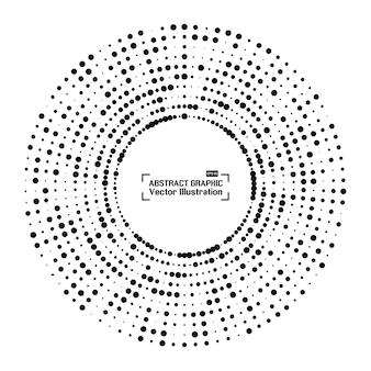 Cadre circulaire en demi-teinte abstrait avec des points aléatoires noirs