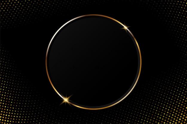 Cadre circulaire doré abstrait avec une lumière scintillante sur un fond noir moderne