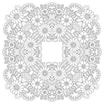 Cadre circulaire avec des fleurs, mehndi.