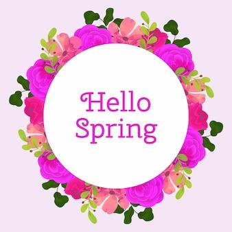 Cadre circulaire floral aquarelle printemps