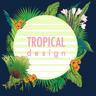 Cadre circulaire floral tropical.