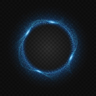Cadre circulaire de particules de néon bleu
