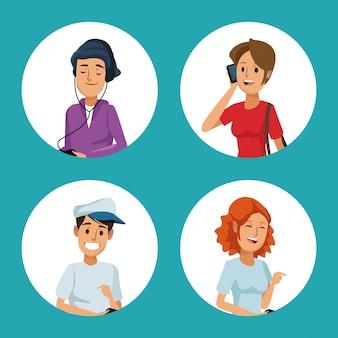Cadre circulaire personnes réseau social communication