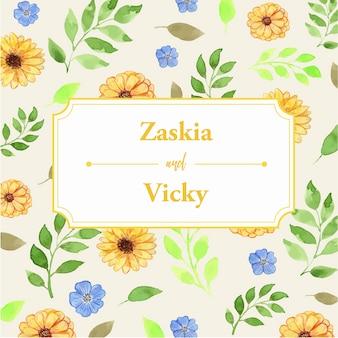 Cadre classique aquarelle motif floral jaune et bleu