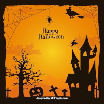 Cadre classique de halloween avec maison hantée
