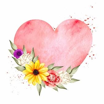 Cadre coeur aquarelle avec couronne de fleurs