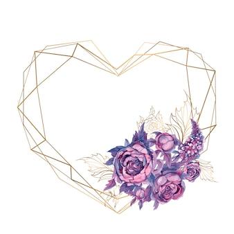 Cadre coeur avec un bouquet de fleurs.