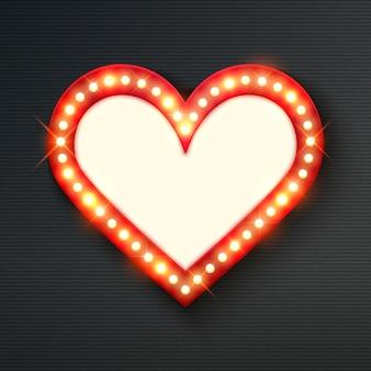 Cadre coeur brillant néon