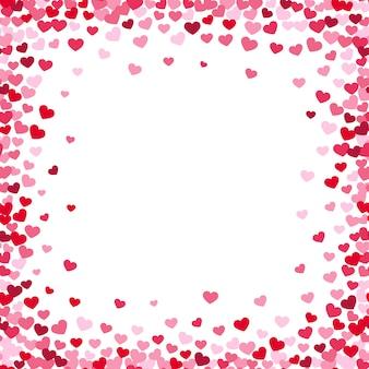 Cadre de coeur charmant avec des coeurs de confettis