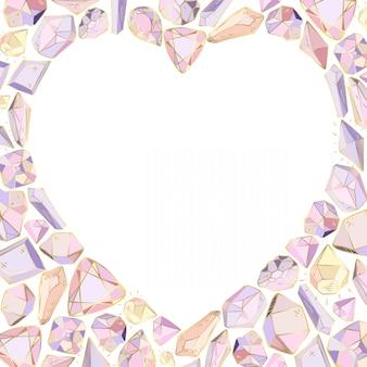Cadre coeur de cristaux et de gemmes - sur fond blanc