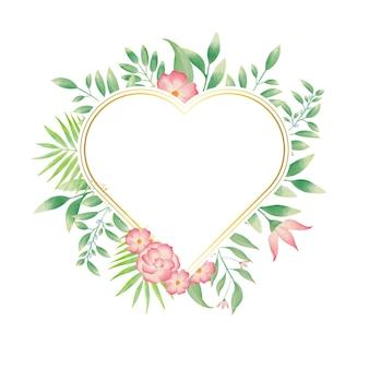 Cadre coeur doré avec couronne florale aquarelle colorée