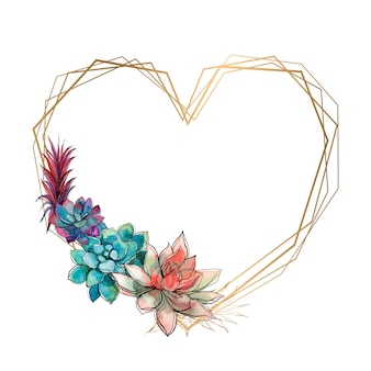 Cadre coeur doré avec plantes succulentes