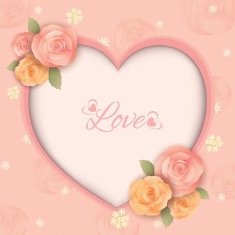 Cadre coeur fleurs roses