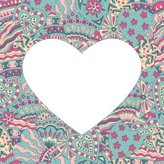 Cadre coeur sur fond peint abstrait