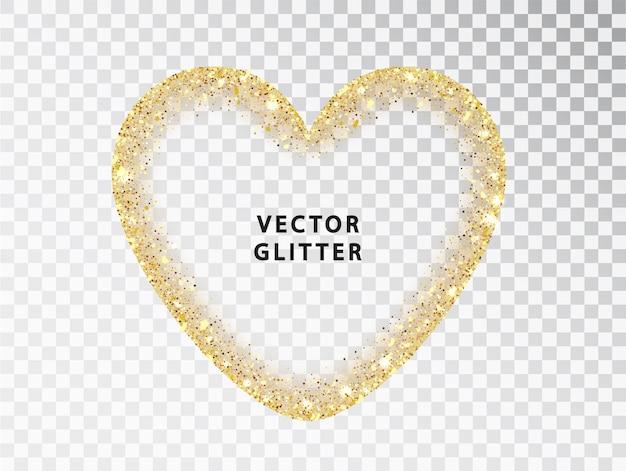Cadre coeur paillettes dorées sur fond transparent. l'or scintille isolé sur blanc avec un espace pour le texte. conception pour carte de mariage, saint-valentin, réservez la date. avec un espace pour le texte.