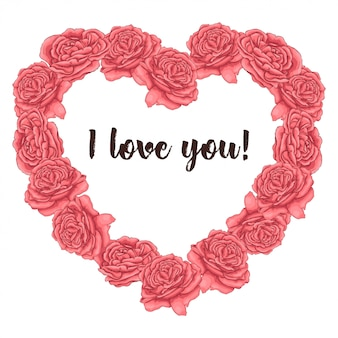 Cadre coeur roses corail. dessin à main levée