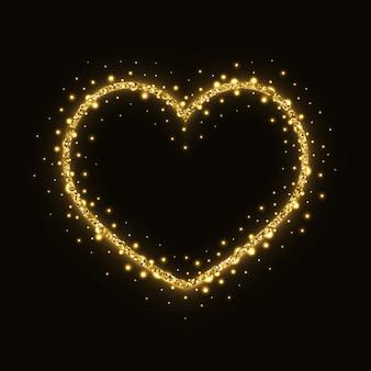 Cadre coeur scintillant or abstrait