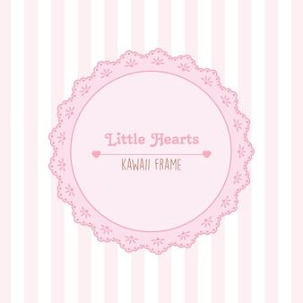 Cadre coeurs et dentelle avec motif sans couture de rayures roses et blanches