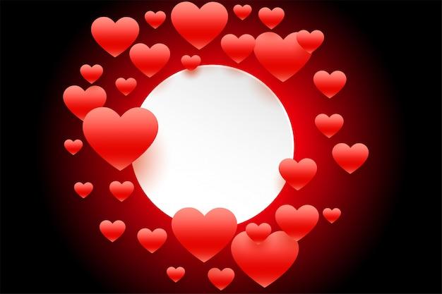Cadre de coeurs volants rouges avec espace de texte