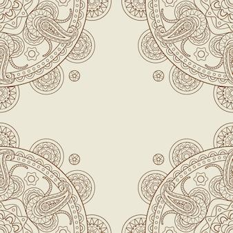 Cadre de coins floraux boho indien paisley