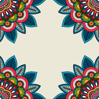 Cadre de coins floraux doodle indien
