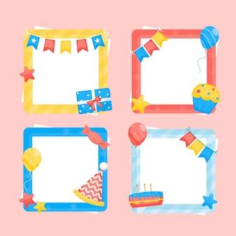 Cadre de collage d'anniversaire design plat coloré
