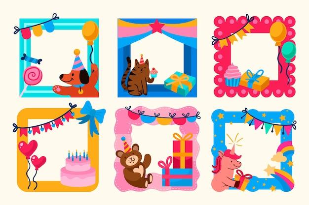 Cadre de collage d'anniversaire dessiné main coloré