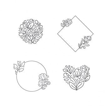 Cadre avec collection de fleurs et plantes