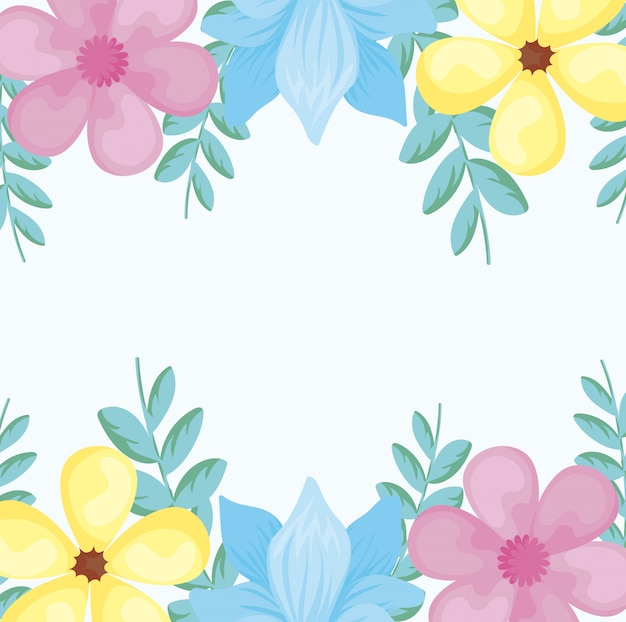 Cadre coloré avec de belles fleurs sur fond blanc